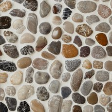 Round Mixed High Polished Pebble Mosaic