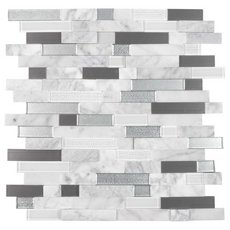 Uptown Silver Linear Glass Peel and Stick Mosaic