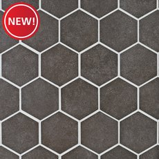 New! Uptown Antraite Hexagon Porcelain Mosaic