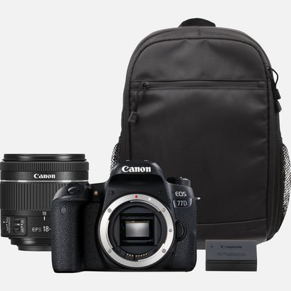 Canon EOS 77D + objectif EF 18-55mm IS STM + sac à dos + batterie de rechange