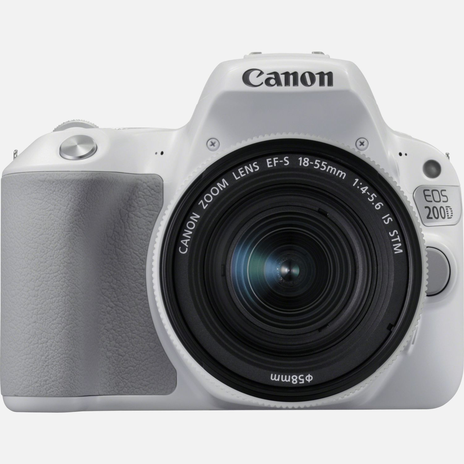 Image of Canon EOS 200D White and EF-S 18-55mm f/4-5.6 IS STM Lens Silver