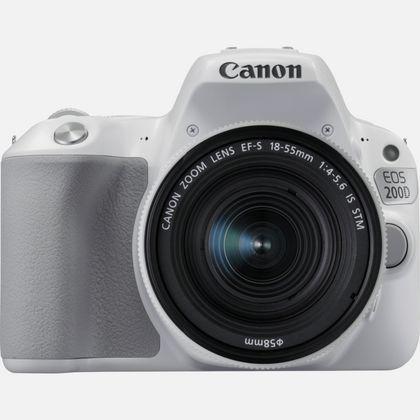 Canon EOS 200D blanc et objectif EF-S 18-55mm f/4-5.6 IS STM argent