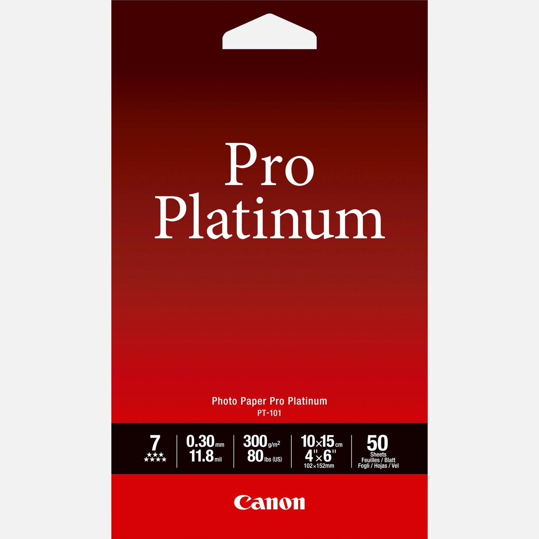 """Papier photo 4 × 6"""" (10 × 15 cm) Pro Platinum Canon PT-101 – 50 feuilles"""