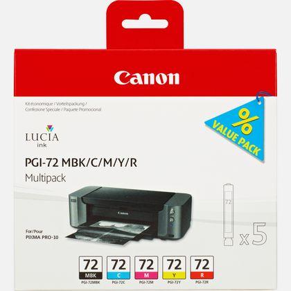 Multipack de cartouches d'encre Canon PGI-72 MBK/C/M/Y/R 5