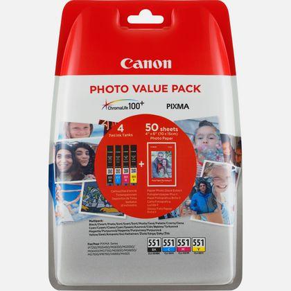 Cartouche d'encre Canon CLI-551 BK/C/M/Y + Pack économique de papiers photo