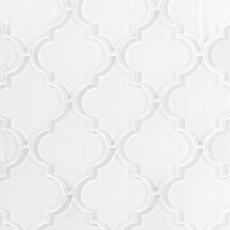 Arabesque Fleur Snow Water Jet Cut Glass Mosaic