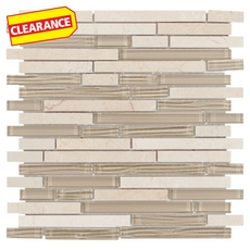 Clearance! Love Marmol Beige Linear Glass Mosaic