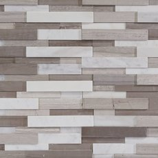 Gray and White Honed Marble Mosaic