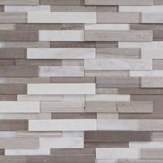 Gray and White Interlocking Honed Panel Marble Mosaic