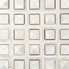 Carrara Collection Valentino White Square Polished Marble Mosaic