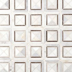 Valentino White Square Polished Marble Mosaic