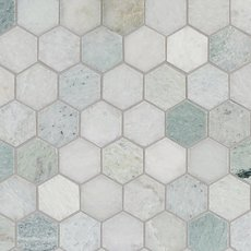 Caribbean Green Hexagon Polished Marble Mosaic