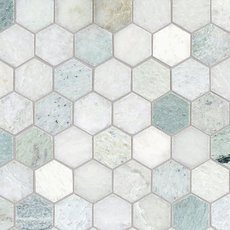 Caribbean Green Hexagon Tumbled Marble Mosaic