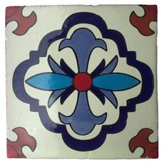 Hand-Painted White Talavera Tile (Pattern RT6141)