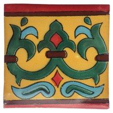 Hand-Painted Yellow Talavera Tile (Pattern RT6154)