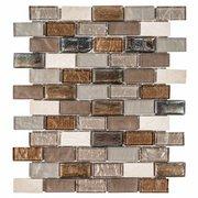 Glass and Travertine Mix Brick Glass Mosaic