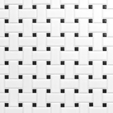 White and Black Basket Weave II Porcelain Mosaic