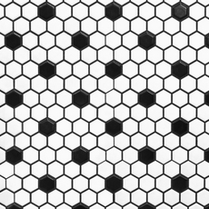 White and Black Hexagon II Porcelain Mosaic