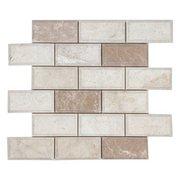 Beveled Ice Beige Brick Polished Marble Mosaic