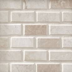 Beveled Ice Beige Brick Polished Marble Mosaic