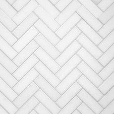 Thassos Herringbone Polished Marble Mosaic