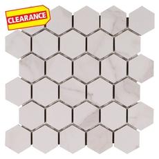 Clearance! Dimarmi Bianco Hexagon Porcelain Mosaic