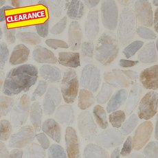 Clearance! Flat White Honed Pebble Mosaic