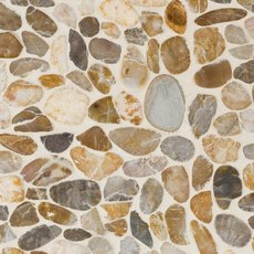 Flat Gold High Polished Pebblestone Mosaic