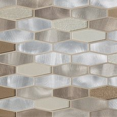 Dune Elongated Hexagon Glass and Metal Mosaic