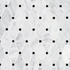 Carrara Clipped Diamond Polished Marble Mosaic