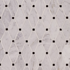 Carrara Collection Caribbean Clipped Diamond Polished Marble Mosaic