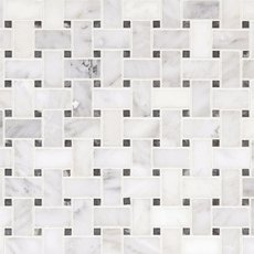 Carrara White Basketweave Marble Mosaic