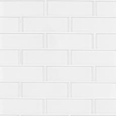 Snow Brick Glass Mosaic