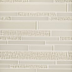 Dove White Textured Linear Glass Mosaic