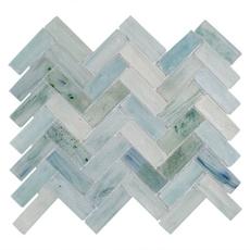 Poseidon Herringbone Glass Mosaic