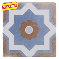 Clearance! Barcelona Blue and Taupe Ceramic Tile