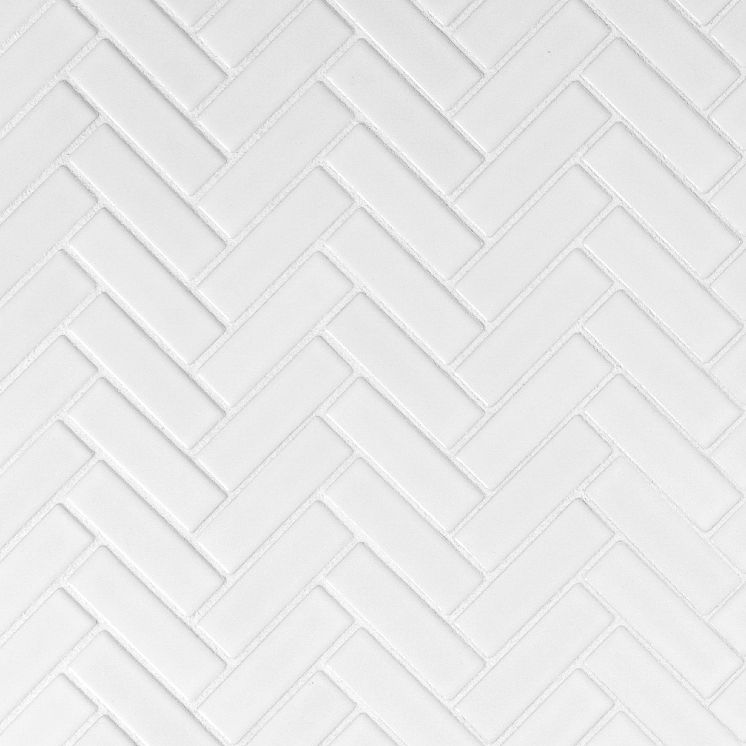 Tile bathroom floor decor white herringbone porcelain mosaic dailygadgetfo Choice Image