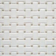 Matte Gray Dot Basketweave Porcelain Mosaic