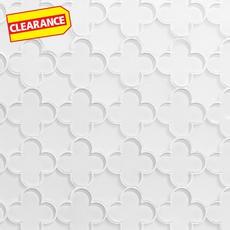 Clearance! White Quatrefoil Water Jet Cut Glass Mosaic