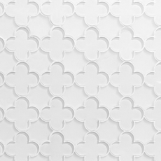 White Quatrefoil Water Jet Cut Glass Mosaic