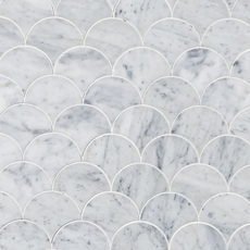Carrara Fan Water Jet Cut Marble Mosaic