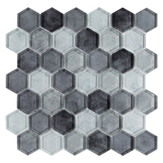 Montage Fade To Black Hexagon Polished Glass Mosaic