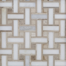 Carrara Collection Valentino Basket Weave Multi Finish Marble Mosaic