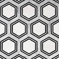 Carrara Thassos Hexagon Waterjet Marble Mosaic