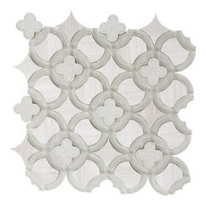 Valentino Quatrefoil Water Jet Cut Glass Mosaic