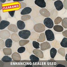 Clearance! Bodrum Cool Blend Flat Pebblestone Mosaic