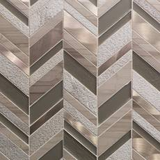 Metallico Glass and Copper Chevron Mosaic