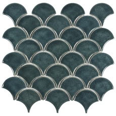 Peacock Fan Crackled Ceramic Mosaic