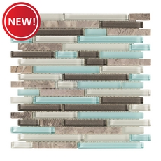 New! Montage Cerulean Blue Multi Finish Linear Glass Mosaic