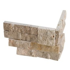 Roman Beige Split Face Travertine Corner Panel Ledger